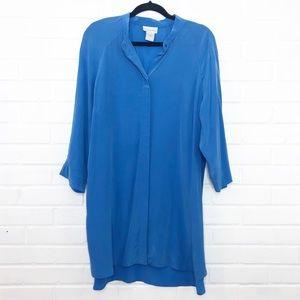 Soft Surroundings 100% Silk Tunic Blouse Blue Lrg